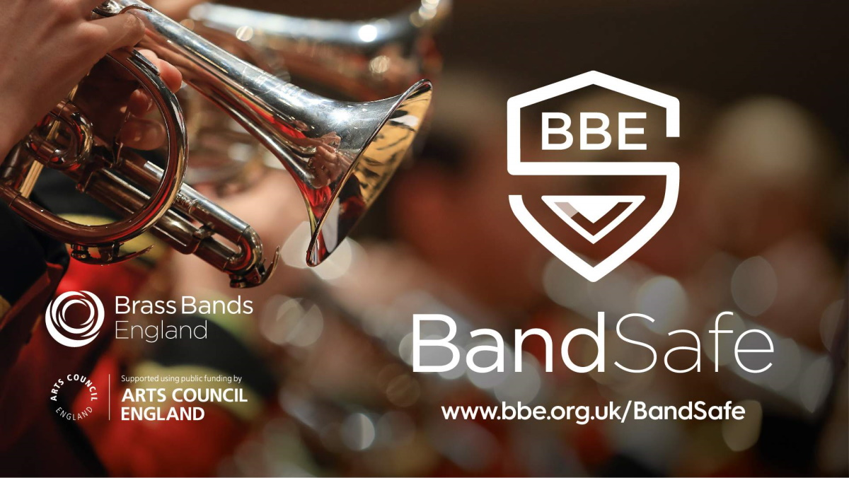 Cornet being played with text that reads BandSafe and logo in the shaoe of a shield
