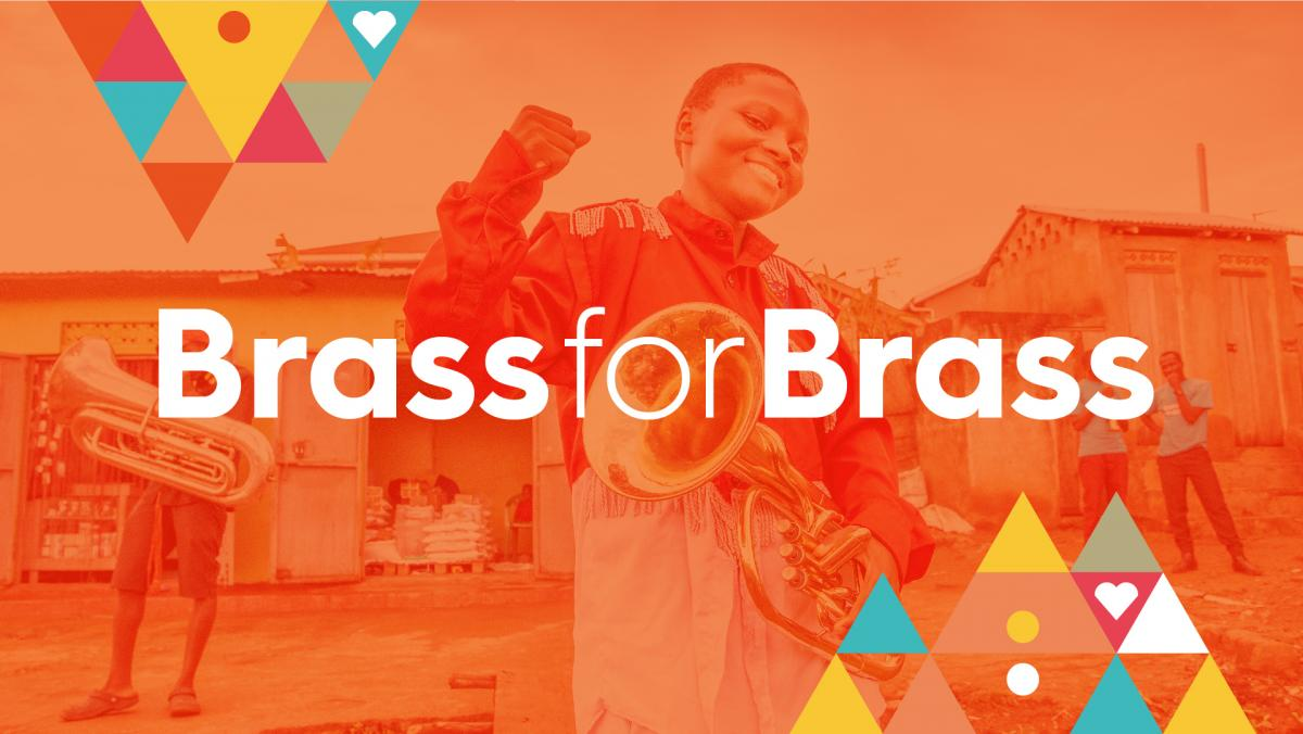 Brass for Brass written over image of child holding brass instrument smiling and with fist raised in the air