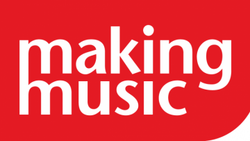 Making music writen in white on a red background