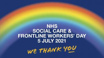 NHS, social care and frontline workers' day is written in text overlaying a picture of a rainbow