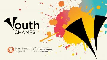 """Text reads """"Youth champs"""" the Y of the logo is shaped like two horns and is placed over coloured splats"""
