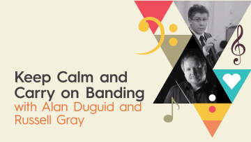 Keep Calm and Carry on Banding advert with photos of Alan Duguid and Russell Gray
