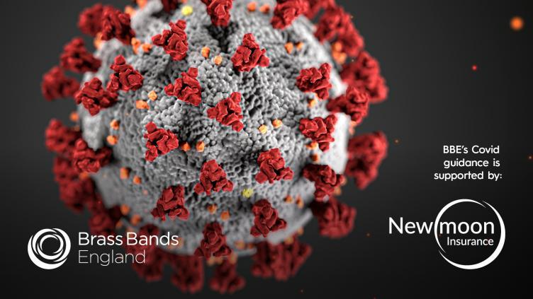 Red Covid molecule with text BBE Covid Guidance is supported by New Moon Insurance