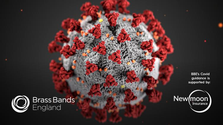 Covid-19 virus particle with New Moon Insurance logo (sponsor)
