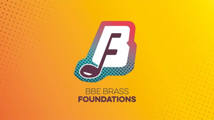 Brass Foundations logo is a musical note shaped like an F on a white background shaped like a B