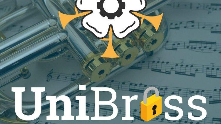 UniBrass where the 'a' has been replaced with a padlock