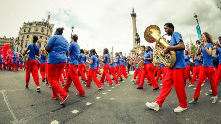 Kinetiko Bloco Band marching in a parade at Trafalgar Square
