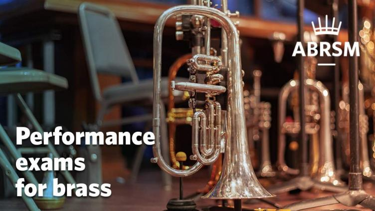 Brass instruments on a stage
