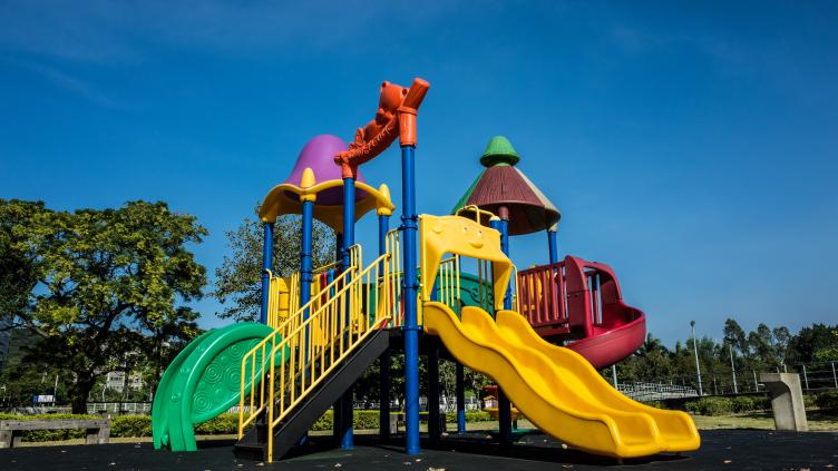 A children's playground in the sun