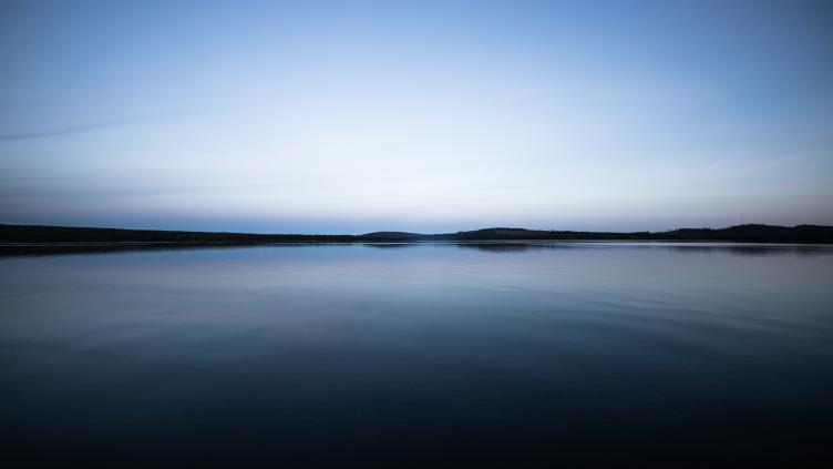 Landscape picture of a lake and blue sky